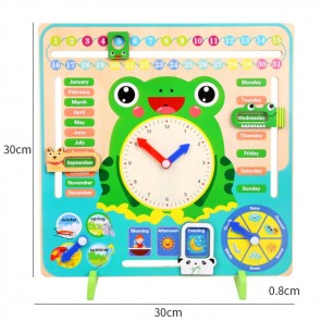 Educational Wooden Calendar Clock Date Weather Board Toy for Kids Children Learning