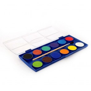 12 Color Kids Water Color Set With Brush 2912A
