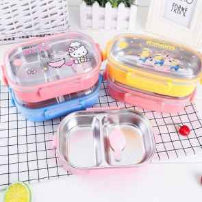 Food Grade Plastic + 2-Compartment 304 Stainless Steel Clip Lock Airtight Lunch Box with Adjustable Spoon - K401M