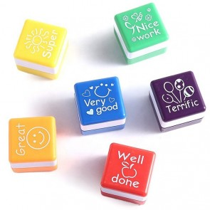 6pcs/set Teachers Stamper With Demo Ink