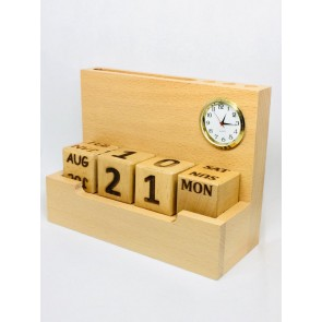 Natural Wooden Pen Stand With Date, Clock & Visiting Card Holder
