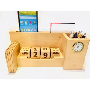 Natural Wooden Pen Stand With Mobile Holder, Clock Date