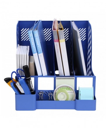 File Rack Holder, 4 Compartments Mesh Plastic