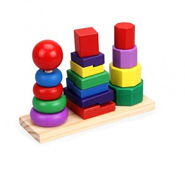 Buy Educational Toys - 3 Tower Shapes - Wooden Toys In Pakistan