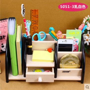 Wooden Pen Holder With Drawer XD-5051