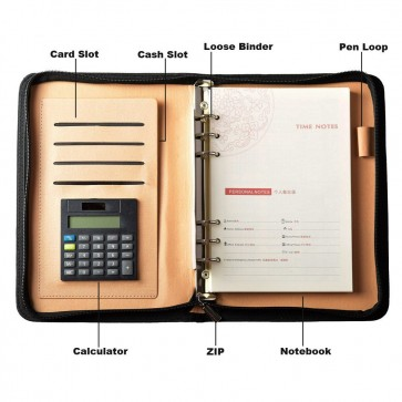 A5 Ring Bound Business Notepad with Built-in Calculator/Card Slot/Pen Holder/Receipt Cash Card slot