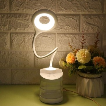 Chargeable LED Table Lamp 3 Steps Light Switch With Mirror & Pen Holder 5806