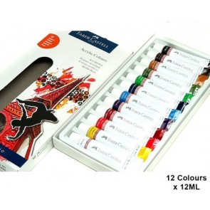 Faber-Castell set Acrylic Colors, wallet of 12, 12x 12 ml tube