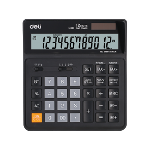 Deli EM01020 120-CHECK TAX CALCULATOR 12-DIGIT BLACK WHITE 3 Years Warranty