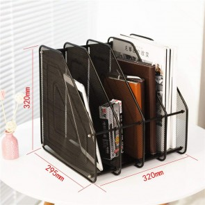 4 Tier Paper Organizer Magazine Holder Rack Stand Black Mesh Compartment Office Desk Document File (Black, 4 tire)