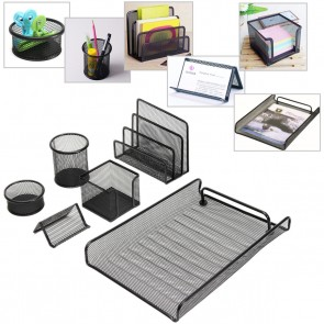 Desk Organizer Set Office Pen Holder Storage Drawer Mesh Tray Paper Sorter 6 Pcs