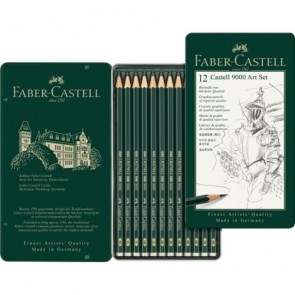 Faber Castell Pencils - Tin of 12 Castell 9000 Art Set Graphite Pencils