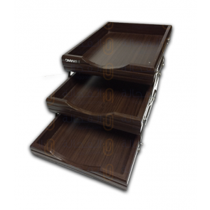 3 Step Wooden Paper & File Organizer Tray For Home And Office - 7723