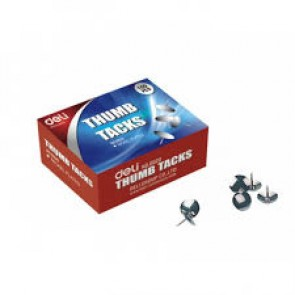 Deli Thumb Tack (Nickel Plated), 100 Pcs (Box) (E0020)