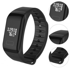 F1 Plus Black Blood Pressure Waterproof Bluetooth Fitness Bracelet Heart Rate Monitor