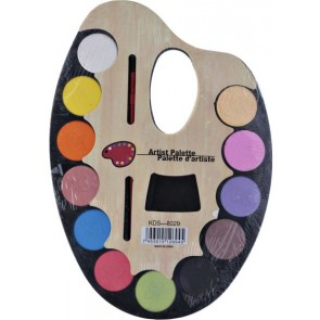 Water Color Artist Palette With Paint Brush & 12 Colors KDS-8029
