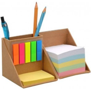 3 Compartments Pen Stand With Sticky Notes