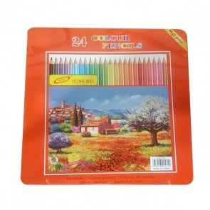 24 Color Pencils Tin Box Packing