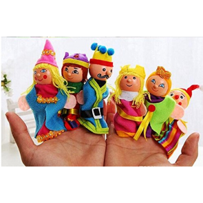 Supreme 6 Pcs King Queen Royal Family Wooden Finger Puppets