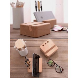 Natural Wooden Pen Stand With Mobile Holder