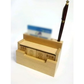 Natural Wooden Pen Stand With Date & Visiting Card Holder