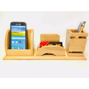 Natural Wooden Pen Stand With Mobile Holder & Visiting Card