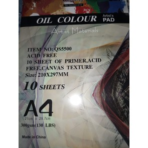 Oil Color Artist's Pad 10 Sheets Texture Canvas Pad