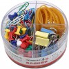 Assorted Paper Clips Binder Clips Push Pins Rubber Bands Sets with Box Office Home Supplies